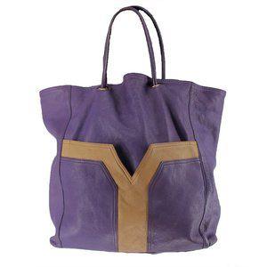 Yves Saint Laurent Purple Leather Tote Shopper YSL